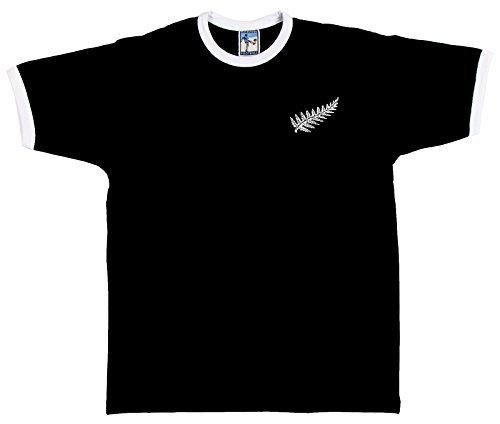 Retro Neuseeland National T-Shirt Rugby gesticktes Logo schwarz schwarz xl (Rugby Gestickt)
