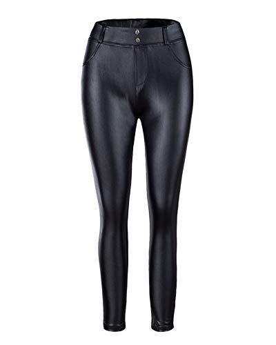 Minetom Mujer Elegante Brillante Pantalones Largos Leggings Tramo Pantalones Cuero Estilo Leggings Slim Trousers Negro ES 34