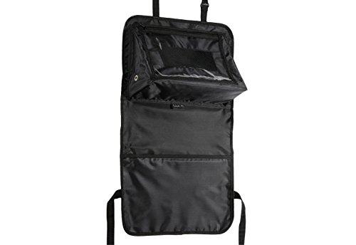 Rückenlehnenschutz und Utensilientasche mit angewinkelter Halterung zur Aufnahme von Tablets und tragbaren DVD Playern