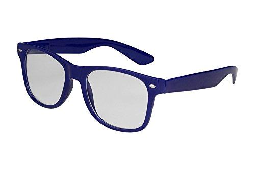 1024 Brille (X-CRUZE® 1-024 X01 Nerd Brille ohne Stärke Vintage Retro Style Stil Klarglas Hornbrille Modebrille Unisex Herren Damen Männer Frauen Streberbrille navyblau)