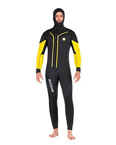 XYJHL 7Mm Wetsuits Für Männer, Premium-Neopren-Thermal-Badeanzug Split Typ Kompletter Anzug Deep Dive Kompletter Anzug Tauchen Haut Für Tauchen Schnorcheln Surfen,Gelb,XXL