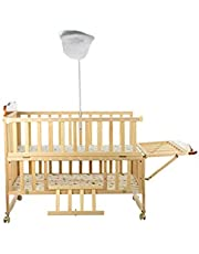 Mee Mee Baby Wooden Cot with Swing and Mosquito Net (Light Blue)