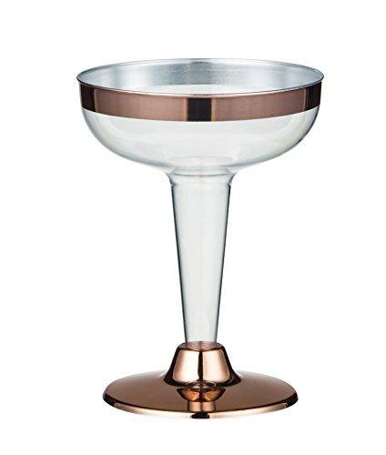 Martini-Gläser, 50 Stück, bruchsicher, Kunststoff, Cocktailgläser, bruchsicher, dekoratives Trinkglas für Urlaubspartys, formelle Anlässe, Abschlussfeiern, Geschenk, Roségold, 118 ml