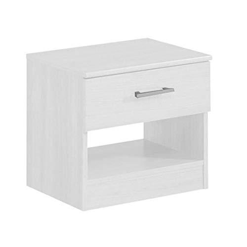 HOGAR 24 Mesita de Noche Color Blanco 1 cajón y Estante, Medidas: 50 x 44 x 36 cm