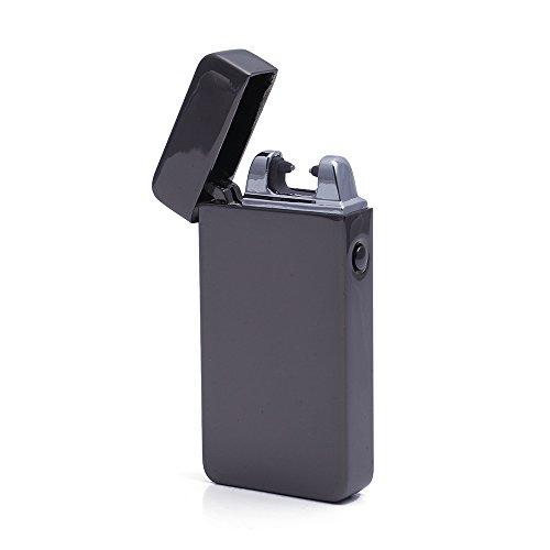 Preisvergleich Produktbild iProtect elektronisches Feuerzeug Zigarettenanzünder aufladbar mit USB Anschluss und Ladekabel in grau