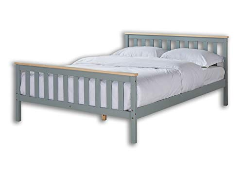 Home Detail Wooden Bed Frame Grey & Pine or White & Oak Contrast Finish (King Size 5FT, Grey/Pine)