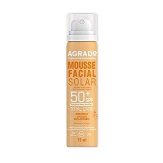 Mousse Facial Protector Solar Hidratante 50 SPF Protección UVA UVB Infrarrojos Resistente al agua Pieles sensibles Antiedad Invisible 75 ml – Agrado
