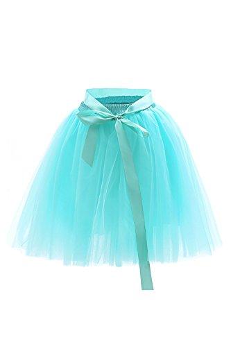 MisShow Damen Rockabilly Tüll Petticoat Reifrock Unterrock Petticoat Underskirt für Rockabilly Kleid One Size 50CM-Läng Mintgrün