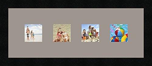 Cadres photos pêle mêle multivues 4 photo(s) 8x8 Passe Partout, Cadre photo mural 48x18 cm Noir, 3 cm de largeur