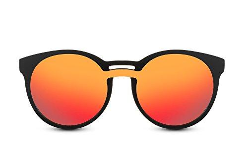 Cheapass Redondas Gafas de sol Mate Negras Espejadas Red Lenses Puente Doble UV-400 Hipster Glasses Redondas Festival Accesorio Plástico Señorita Hombres