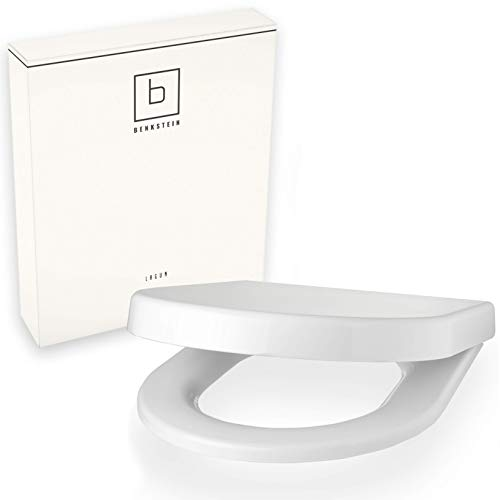 Benkstein® Premium Toilettendeckel D-Form Klodeckel mit Quick-Release-Funktion und Softclose Absenkautomatik Antibakterielle Klobrille aus Duroplast rostfreiem Edelstahl abnehmbar WC-Brille WC-Deckel