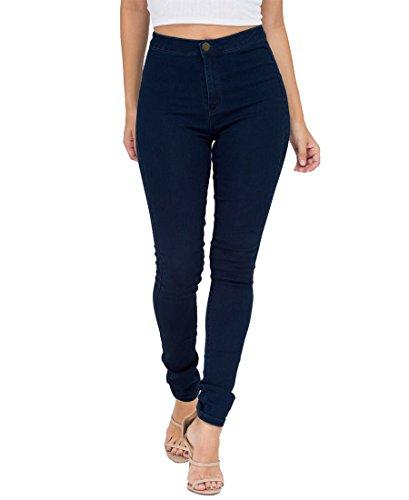 EASTDAMO Frauen-Ausdehnung-hohe Taille dünne Jeggings dünne Jeans, Blue, Gr. XL -