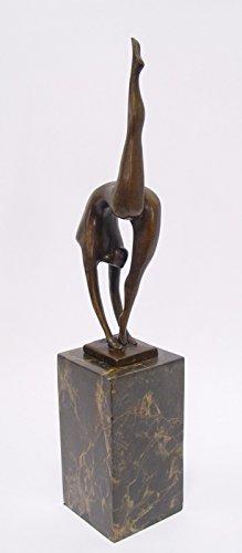 Ellas-Wohnwelt Turnerin Bronze Statue Moderne Kunst Frau nackt am Turnen auf Marmorblock