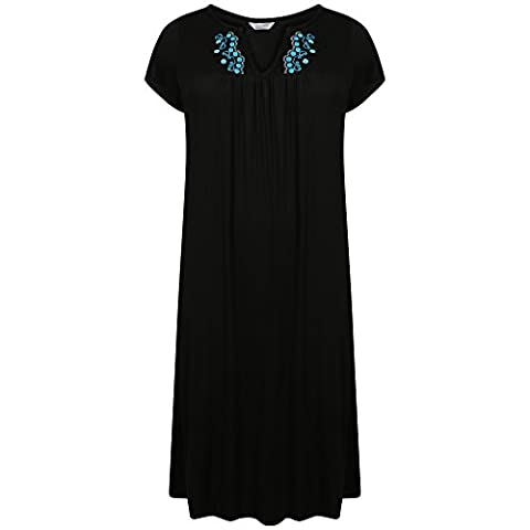 Ladies Plus Size Long Embroidered Jersey Nightdress. Purple, Pink Marl, Blue, Wine, Dark Grey, China Blue, Navy New Grey Sizes 10-12 14-16 18-20 22-24 26-28 30-32 34-36 (30-32, BLACK/TURQ)