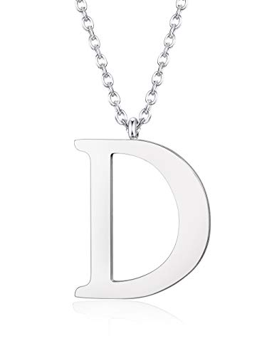 en Name Kette für Frauen Damen Männer Herren Edelstahl Anhänger Halskette Kette Silber/Gold/Schwarz, Länge 56 cm ()