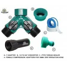 """DRIP Irrigation - Two Way Control Y Adapter 3/4"""" FXM - with 3/4"""" to 1/2"""" Reducer, PTFE Tape and Two Pieces of Garden Hose Adapters-Set"""