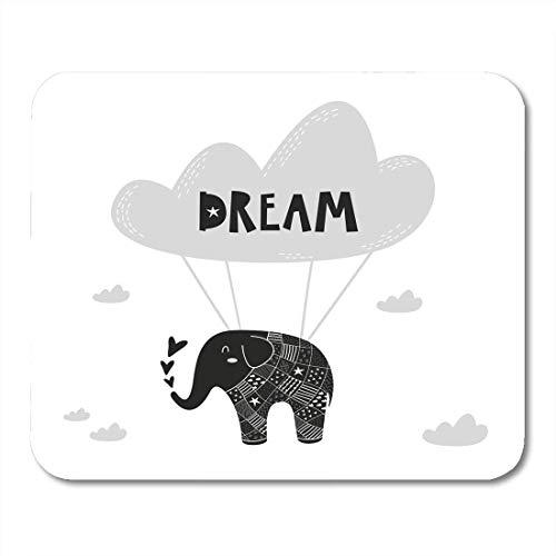 Luancrop Mauspads Avatar Black Nordic Flying Elephant für Babyzimmer The Wall Kids Interior Wear und White Animal Cartoon Mauspad für Notebooks, Desktop-Computer Bürobedarf