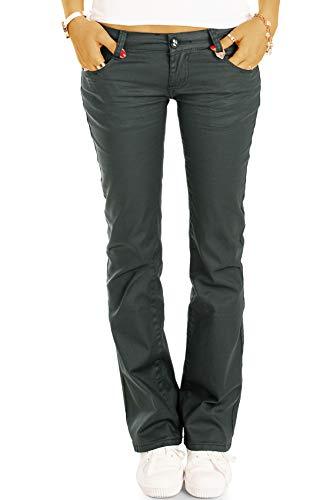 Be Styled Extreme Hüfthose im Wax-Look - Stretch Hose - Gerader Schnitt/Bootcut - j1l 38/M-Gruen - Bootcut-grün