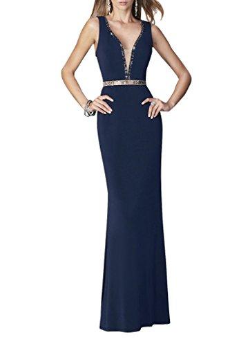 Charmant Damen V-ausschnitt Pailletten Schmaler Schnitt Abendkleider Ballkleider Abschlussballkleider Lang Dunkel Blau