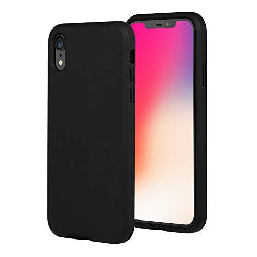 Brand.it Black Series passend für iPhone XR Hülle TPU Silikon Schutzhülle Case schwarz matt mit Bildschirm Schutz kompatibel mit Wireless Charging