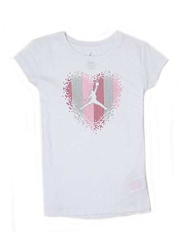 Jordan Girls White Printed T-Shirt (_617846264437_White_10 - 11 Years_)