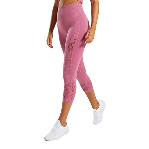 XZDCDJ Lange Yogahose Damen High Waist Skinny Hose Ladie aushöhlen hohe Taille hip up Yoga Hosen Freizeit Laufen Sieben Minuten Hosen(Rosa,L) -