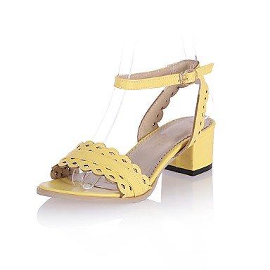 LvYuan Da donna-Sandali-Formale Casual Serata e festa-Altro-Quadrato-PU (Poliuretano)-Blu Giallo Rosa Bianco Grigio Yellow