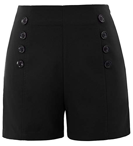 Spandex-vintage-shorts (Belle Poque Frauen freizeits Casual Shorts high Waist hot Pants Mini Sommershorts M BP849-1)