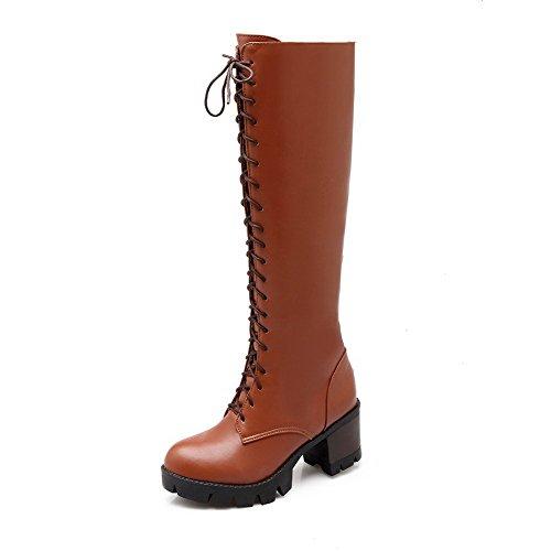 VogueZone009 Damen Rein Niedriger Absatz Rund Zehe Weiches Material Reißverschluss Stiefel, Braun, 40