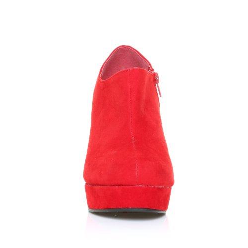 Scarpe Stivaletti con Zeppa e Plateau da Donna Ecopelle Scamosciata Rossa Tacco Molto Alto H051 Camoscio Rosso