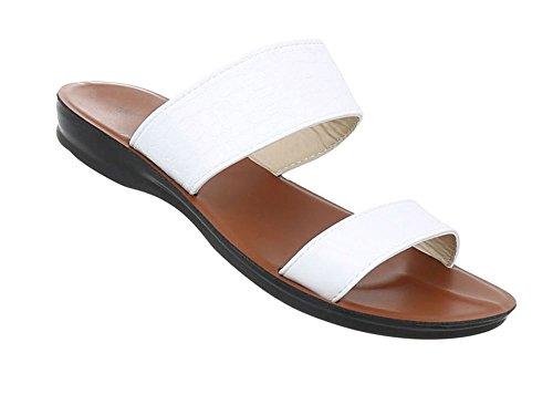 Damen Schuhe Sandaletten Pantoletten Weiß 36