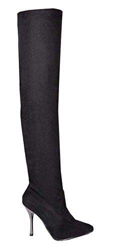 Frühling neue Damenstiefel Stovepipe Elastizität Overknee-Stiefel mit hohen Absätzen lange Stiefel großartig Größe Schuhe Schwarz