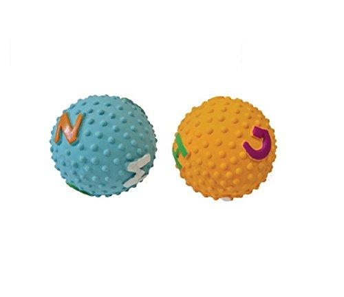 FORPET® 026852 Gioco per animale, Pallina in lattice con rilievi circolari e a forma di lettere colorate Giallo o Azzurro, Gioco per cani, Palla per cane.