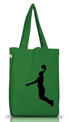 Shirtstreet24, BASKETBALL PLAYER, NBA Sport Jutebeutel Stoff Tasche Earth Positive (ONE SIZE) Moss Green