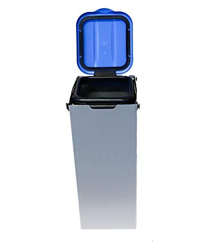 Bubble-Store Müllbeutelständer zur Mülltrennung inkl. Klemmvorrichtung, Mülltüte 20-130 Liter, Müllsackständer Höhe ca. 76 cm, 1 Stück Müllsackhalter (Deckel Blau)