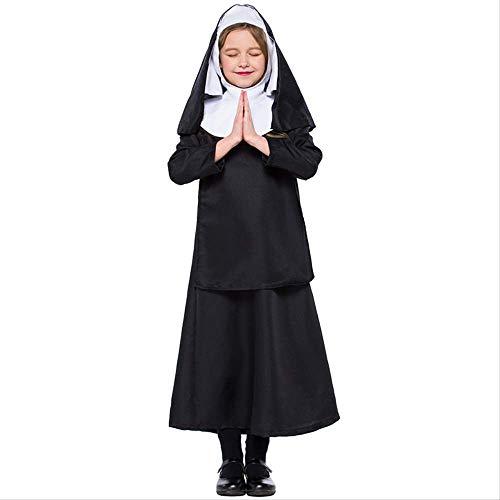 HG-amaon Halloween Kinder Nonnen Kostüme, Cosplay Jesus Christus Mädchen Kostüm M- (115-125) Schwarz