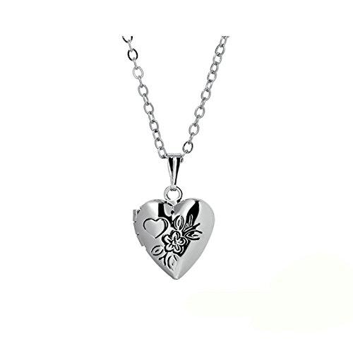 Adisaer Medaillon Necklace Herzketten Damen Silber Hochzeit Amulett Foto Bilder Kette Groß Herz Pflaumenblüte Jahrgang Anhänger Für Damen