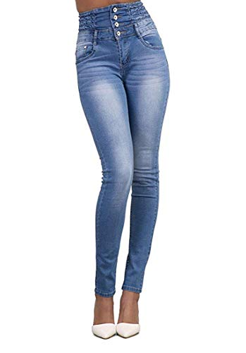 Hooleeger High Waist Jeans Damen Skinny Stretch Regular Fit Basic Jeanshose (M, Himmelblau) -