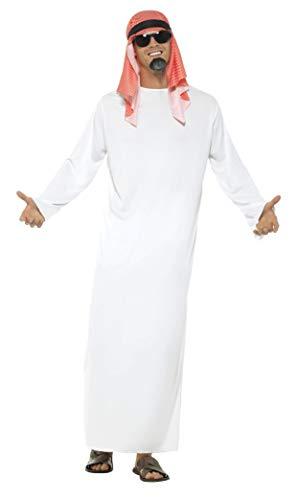 Smiffys Disfraz de jeque, Blanco, con túnica larga y tocado