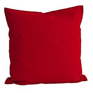 beties Basic Kissenbezug ca. 80x80 cm 100% Baumwolle in 14 fröhlichen Unifarben (Rot) 1 Stück