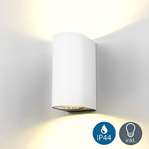 B.K.Licht - Aplique de pared con bombillas GU10 LED para interiores y exteriores de luz blanca cálida...