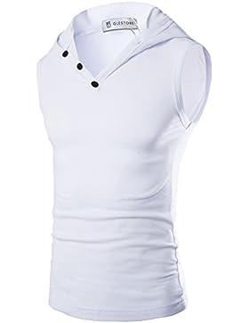 Glestore Herren Top T-Shirt mit Kapuze Sport Elastizität Slim Fit Sommer Einfarbig Schwarz Weiss Grau Blau XS-L