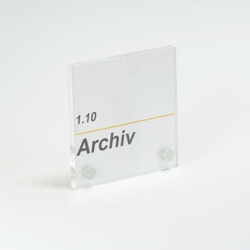 Acrylglas / PLEXIGLAS® Türschild zum selbst beschriften 100 x 170 mm mit 2 Bohrungen inkl. Aluminium Befestigung -