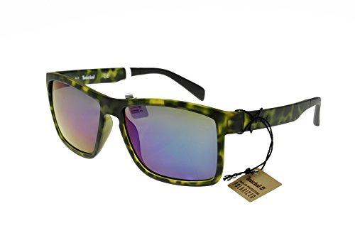 Occhiali da sole polarizzati timberland tb9081 c56 55r (coloured havana / green polarized)