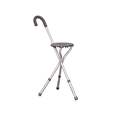 Height Adjustable Tripod Walking Stick and Seat