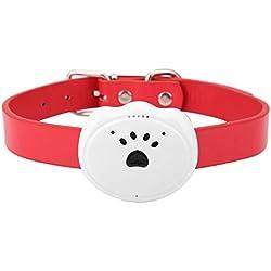 Pssopp Collar de rastreo de Mascotas WiFi GPS Rastreador de Mascotas Anti-Perdido GPS Localización de rastreador de Mascotas Impermeable Gato Perro Inteligente Collar con área peligrosa Alarma(Rojo)