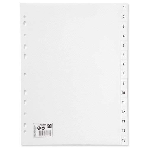 5 Star-Kunststoffregister, 120 Mikron, Mehrfachlochung, 1-15, A4, weiß
