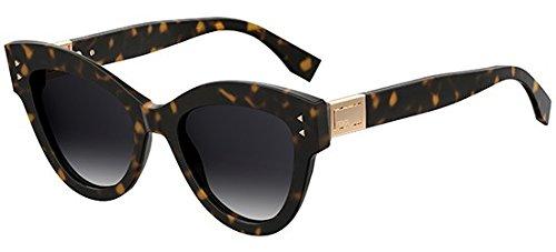 Fendi ff 0266/s 9o 086, occhiali da sole donna, marrone (dark havana/brown), 52