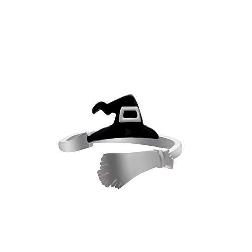 Besen Machen Kostüm - cdzhouji Hexenhut Broom öffnen Ring Halloween Netter geöffneter justierbarer Ring mit Hexenhut und Besen Partei Cosplay Schmuck für Frauen 1 PC