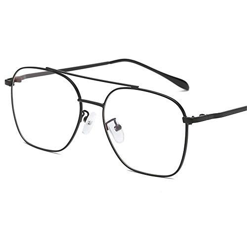 brillengestell Brillenfassungen Brillen Fashion Metal Double Beam Unisex, schwarzer Rahmen